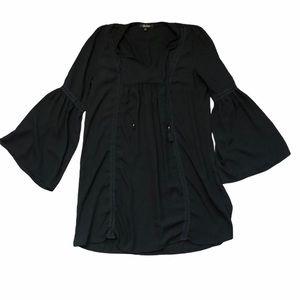 BeBop Black Bell Sleeve Boho Peasant Top Size L